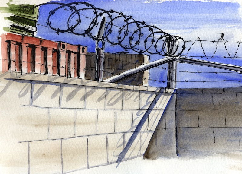 Ink and watercolor sketch of an industrial yard with razor wire on the fence.